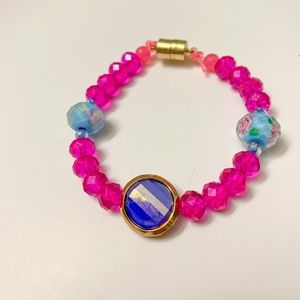 Jewelry - Fuchsia Faceted Glass Beaded Bracelet